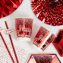 Merry Christmas Red & White Paper Cups (8)
